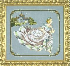 "MD69 - Cinderella - Mirabilia Designs Uses / Description: 3609778 Smokey Pearl Belfast Linen 32ct or 6518 Twilight Blue Linen 32ct or 355180 Twilight Blue Aida 16ct  Beads: (# of pkgs) 00330 (1), 00525 (1), 02016 (1), 02024 (1), 02026 (1), 60479 (1)  Treasure: (# of pkgs) 13015 (7)  Kreinik: See list on website **Approximate design size 17"" w x 15.5"" h"