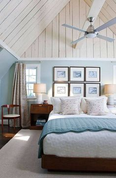 Coastal bedroom design ideas beachy bedroom for the home cottage style bedr Cottage Style Bedrooms, Coastal Bedrooms, Blue Bedrooms, White Bedroom, Pretty Bedroom, Master Bedrooms, Bedroom Neutral, Bedroom Simple, Cottage Interiors