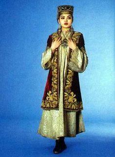 Kazakhstan people national clothes: woman's national dress
