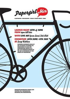 In 2011 Papergirl will take place in Manchester, Glasgow and Bristol. In the style of American paper-boys, rolls of art will be distributed by bicycle on the streets of Manchester to random passers-by.