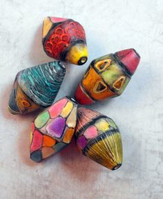 Multicoloured Bicone Beads by MargitBoehmer