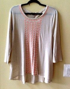 NWT LUCKY BRAND WOMEN'S MULTI-COLOR RAYON/LINEN 3/4 SLEEVE BLOUSE SIZE L #LuckyBrand #KnitTop