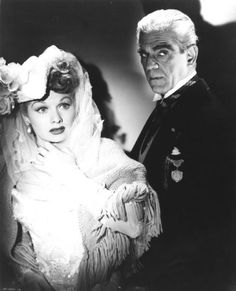 Lucille Ball and Boris Karloff