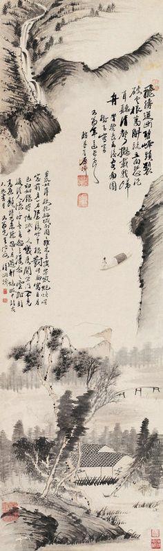淸代 - 石濤 - 山水                                  Shi Tao (1642–1707), born Zhu Ruoji (朱若極) was a Chinese landscape painter and poet during the early Qing Dynasty.