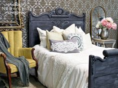 Black washed, aged black paint, black milk paint, painted antique bed, black bed, grey washed paint, painted furniture