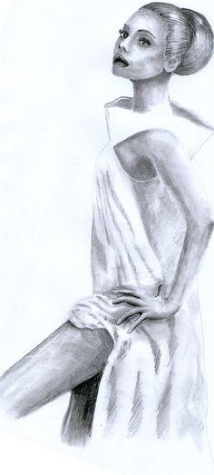 Kobieta w białej sukni, rysunek ołówkiem