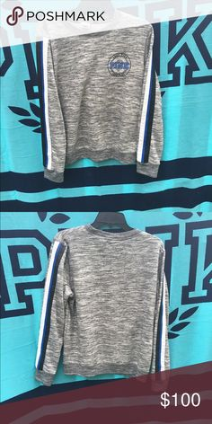 VS Marled Crew Marled grey crew with blue and black detailing. Limited edition. True to size. EEUC !up for offers & trades ❤️ PINK Victoria's Secret Sweaters Crew & Scoop Necks