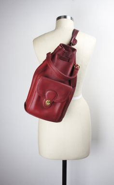 5b4840b32f2 Designer  Coach Style  Drawstring Duffle Sling Backpack Size  Large Color   Red Materials