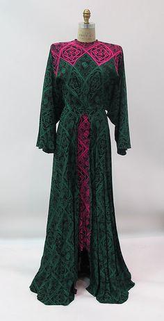 Dress Gilbert Adrian  (American, Naugatuck, Connecticut 1903–1959 Hollywood, California) Date: 1942–52 Culture: American Medium: silk, metal, synthetic