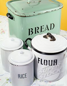 View top-quality stock photos of Tin Vintage Kitchen Canisters For Rice Flour Bread. Find premium, high-resolution stock photography at Getty Images. Vintage Canister Sets, Vintage Tins, Vintage Bread Boxes, Old Wooden Boxes, Kitchen Canisters, Kitchen Utensils, Vintage Enamelware, Vintage Kitchen Decor, Kitchen Redo