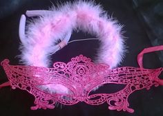 Pink delicate mask and a halo and wings set by LanaDresscom