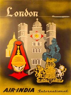London-England-Air-India-Vintage-Airlines-Travel-Advertisement-Poster