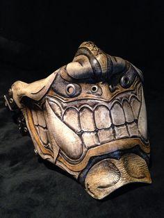 Leather Oni kabuki half mask by SkinzNhydez on Etsy