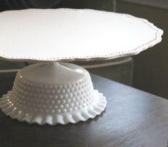 Vintage Hobnail Milk Glass Wedding Cake Stand by Fenton - Pedestal Cake Plate White Decor | Cake Milk glass and Glass & Vintage Hobnail Milk Glass Wedding Cake Stand by Fenton - Pedestal ...