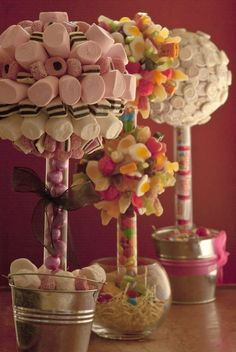 Mashmallow Tree- Perfect for candy buffet! Marquee Decoration, Party Table Decorations, Sweet Trees, Chocolate Bouquet, Baby Birthday, Birthday Ideas, Candy Shop, Gifts For Mum, Candy Buffet