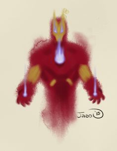 An abstract digital watercolor of the Armored Avenger, Ironman.