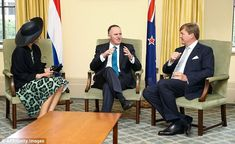 Nice to meet you: Queen Maxima and King Willem-Alexander met the Prime Minister of New Zealand, John Key, during their visit