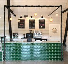 Vareborg Gardscafé disk, grön kakel · Bitterlich Studio Farm Cafe, Studio, Track Lighting, Ceiling Lights, Interior Design, Furniture, Home Decor, Nest Design, Homemade Home Decor