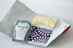 Miniature Woodland Hedgehog with sleeping pouch, Waldorf inspired, bed, gray, blue, yellow, purple, red, tanglewood lane