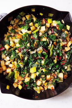 Chard and Potato Leek Frittata - Lexi's Clean Kitchen Potato Recipes, Veggie Recipes, Vegetarian Recipes, Cooking Recipes, Healthy Recipes, Necterine Recipes, Rainbow Chard Recipes, Swiss Chard Recipes, Lexi's Clean Kitchen