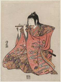 Torii Kiyonaga Title:Flute Player, from an untitled set of Five Musicians (Gonin-bayashi) Date:1783