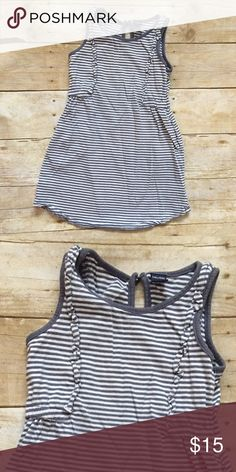 GAP Striped Summer Dress Super cute and comfy striped sleeveless dress featuring a ruffle at the front. The stripes are a blue/grey color. Excellent used condition! GAP Dresses