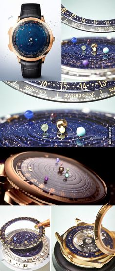 Astronomical Watch Gorgeously Depicts the Real-Time Orbits o. - Astronomical Watch Gorgeously Depicts the Real-Time Orbits of Planets Astronomical Watch Gorgeousl - Cute Jewelry, Jewlery, Jewelry Accessories, Star Jewelry, Fashion Accessories, Unique Jewelry, Astronomical Watch, Saphir Rose, Things To Buy