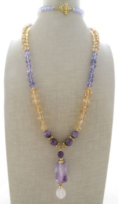Amethyst necklace, rustic necklace, raw stone necklace, yellow citrine necklace, purple beaded necklace, long necklace, gemstone jewelry by Sofiasbijoux on Etsy