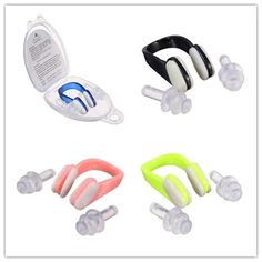 NEW Soft Silicone Swimming Nose Clips + 2 Ear Plugs Earplugs Gear with a case box Pool Accessories Water Sports