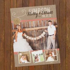 Burlap & Lace Wedding Thank You Photo Cards - Rustic 4 photos on Etsy, $15.00