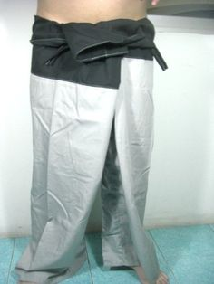 "Thai Fisherman Pants 100% Light Cotton - Free Size - Gray Color (Thai Chaolay Pants) by Thai Chaolay Pants. $19.00. For Everybody - Gray Color Size : about 50"" around the waist and total length is about 39"" Product of Thailand"