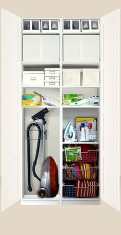 organized inside of a cleaning closet love ikea i need. Black Bedroom Furniture Sets. Home Design Ideas