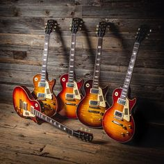 """When it comes to Murphy-aged #gibson, we say """"the more the merrier!"""" Check out this good-looking group of #lespaul guitars that we have in shop!"""