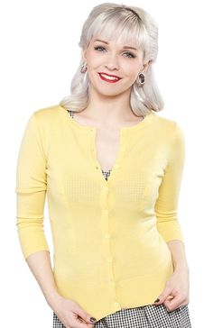 MATILDA 3/4 SLEEVE CARDIGAN YELLOW  Brighten up your day with this sunny little Matilda cardigan! Featuring a crew neck with 3/4 sleeves, this super soft button up beauty is the perfect touch of color you need! $36.00 #girls #cardigan #yellow
