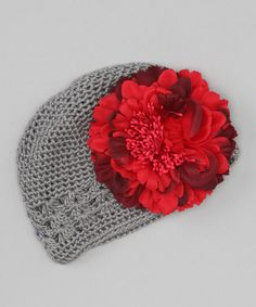 Look at this #zulilyfind! Gray & Red Peony Crocheted Beanie by Tutus by Tutu AND Lulu #zulilyfinds