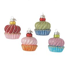 Fancy Glass Cupcake Christmas Ornaments (Set of 4)