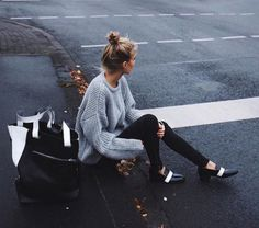 Shoes loafers oversized sweater grey sweater tote bag maxi bag knitted sweater fall outfits