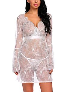 9d63ac03bad Avidlove Women s Babydoll Lingerie Sheer Lace Kimono Robe Chemise  Nightgown