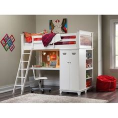 ... Loft Bed Set Teen Study Desk w Cork Board Wardrobe Storage Shelves