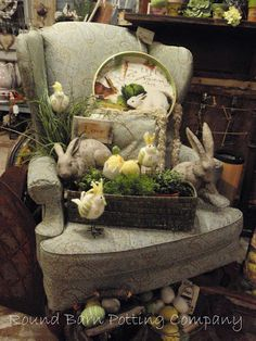 Round Barn Potting Company. Spring Easter visual merchandising display