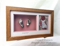 Baby hand & foot cast with a photo at the age the casts were taken. By Babyprints.co.uk