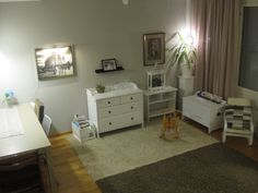 White living room with new lights.