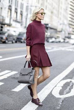 Match your thin sweater to your flirty skirt for a fall-appropriate date night outfit. Click for more!