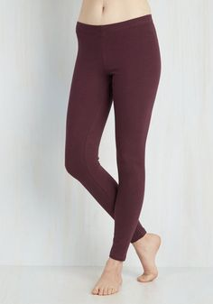 Simple and Sleek Leggings in Burgundy - Knit, Red, Solid, Minimal, Skinny, Variation, Basic, Exclusives, Athletic, Top Rated, Mid-Rise, Ankle