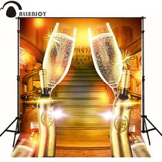 Allenjoy photographic background Cheers elegant champagne glasses to celebrate backdrops for sale professional fabric photocall