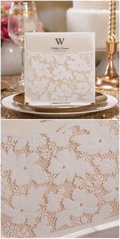 elegant ivory laser cut lace wedding invitations