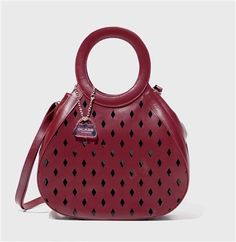Tear Drop Red Leather Diamond Laser Cut Handbag