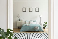 22 Small Bedroom Ideas That Are Big in Style | MYMOVE Apartment Interior, Home Interior, Bed With Drawers Underneath, Pastel Bedroom, Bold Wallpaper, Bed Styling, Bed Storage, Textured Walls, Bed Frame