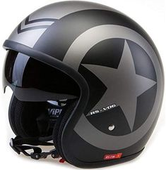 Viper Open Face Motorcycle Bike Helmet Matt Black Star Crash Lid New Open Face Motorcycle Helmets, Motorcycle Riding Gear, Open Face Helmets, Racing Helmets, Concept Motorcycles, Cool Motorcycles, Motorbike Store, Motorbike Accessories, Vintage Helmet