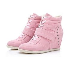 33b6427ecc36 Isabel-Marant-Wedge-Sneakers-High-Top-Pink ❤ liked on Polyvore featuring  shoes